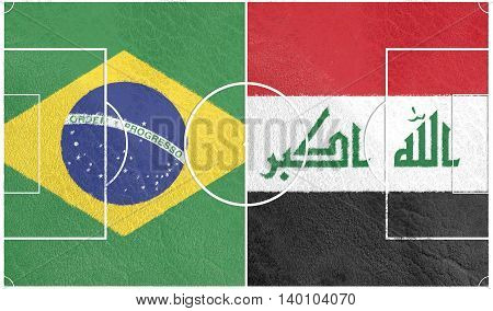 Flags of countries participating to the football tournament. Football field textured by Iraq and Brazil national flags. 3D rendering
