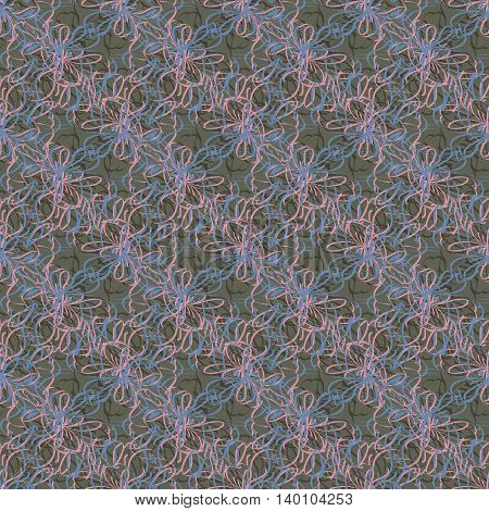 Colorful seamless pattern of twisted threads and lines.