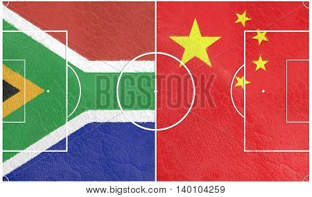 Flags of countries participating to the football tournament. Football field textured by South Africa and China national flags. 3D rendering