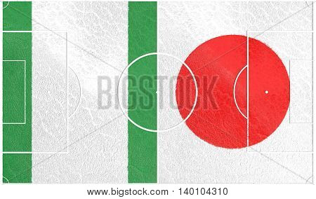 Flags of countries participating to the football tournament. Football field textured by Nigeria and Japan national flags. 3D rendering