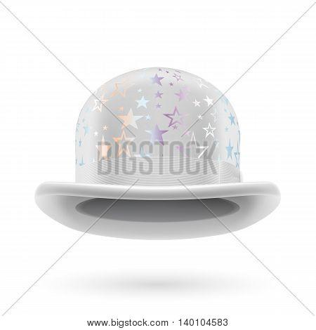 White round bowler hat with silver glistening stars.