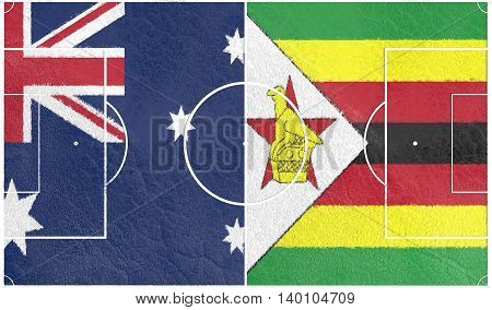 Flags of countries participating to the football tournament. Football field textured by Germany and Zimbabwe national flags. 3D rendering