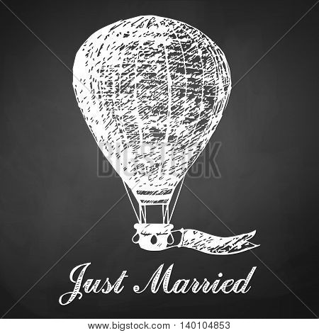Hand drawn chalk card with air balloon for wedding newlyweds.