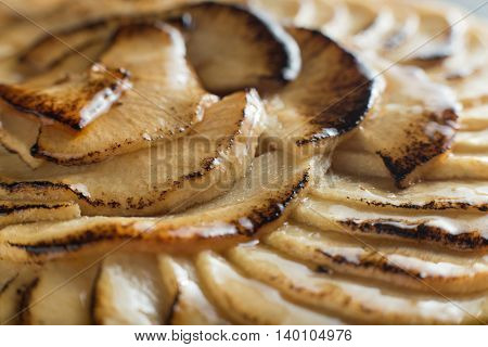 Apple Tart Background. Traditional French Sweet Dessert. Delicious, Appetizing, Homemade Pie With Sl