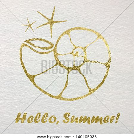 Hand drawn card with gold foil nautical elements.