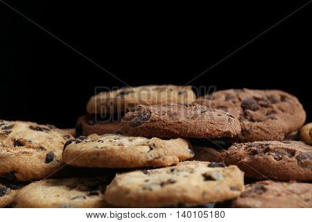 Cookies with Chocolate chip isolated on black background.