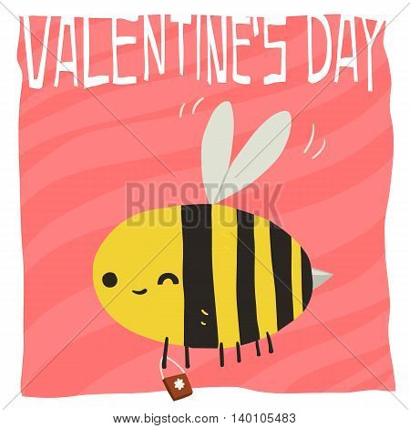 Flat greeting card. For game presentation, user interface tablet, smart phone. With cute bee.