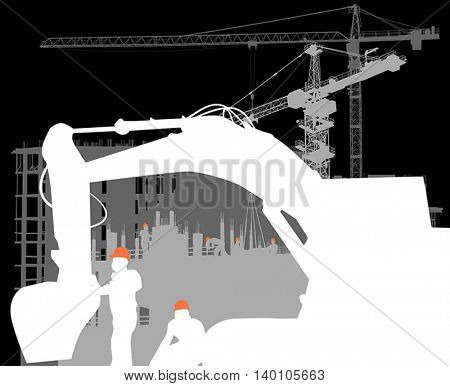 illustration with digger in front of house building and cranes