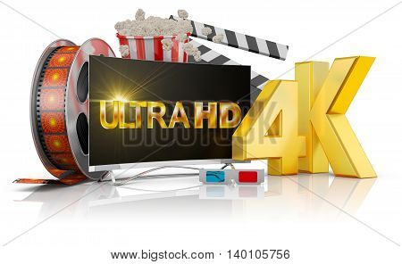 4K TV popcorn and film strip on a white background. 3D rendering.