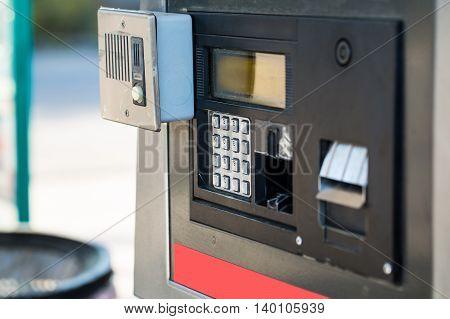fuel oil gasoline dispenser at petrol filling station