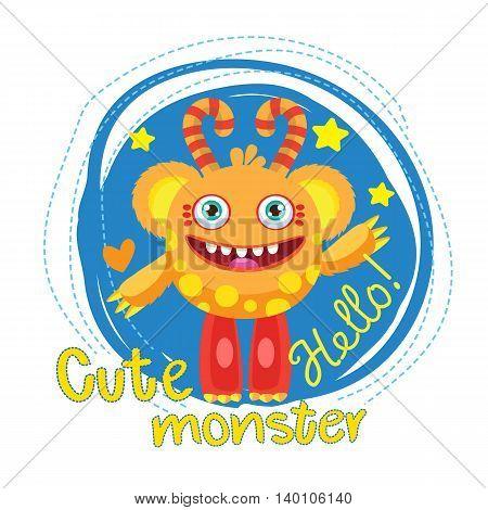 Cute Monster Vector Illustration. Cartoon Monster Ball Mascot. Magic Wand Monster. Inflatable Funny Bear. Monsters University.