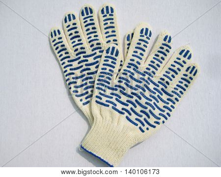 Gloves for gardening and working outside safety on white background