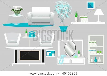 A set of furniture, interior, collection, sofa, chair, table, cupboard, plant, mirror, telephone, television, vector illustration