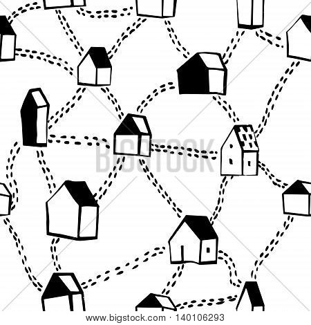 Vector seamless pattern with hand drawn houses and roads