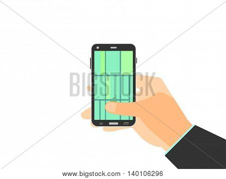 Hand holding mobile phone. GPS navigation map of the locality enabled on smartphone. Vector illustration.