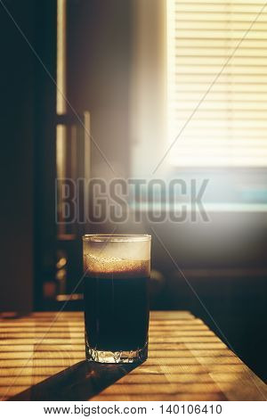 Transparent Glass With Hot Coffee Drink