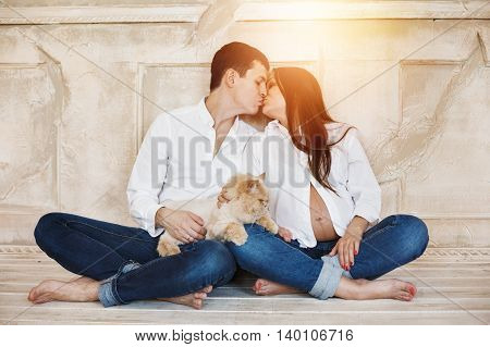 Young Family Couple Waiting A Baby