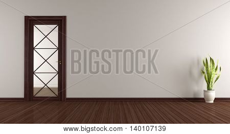 Empty Room With Wooden Glass Door