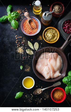 Food frame food background cooking or healthy food concept on a vintage background top view with copy space