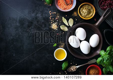 Food frame background or healthy food concept on a vintage background top view with copy space