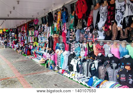 outdoor clothing market with no one at summer