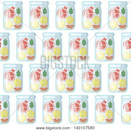 Jar with fresh juice seamless pattern. Summer vector background