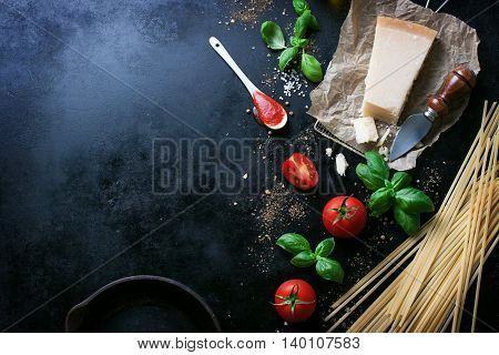 Food frame italian food background healthy food concept or ingredients for cooking pasta on a vintage background top view with copy space