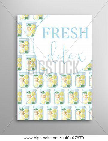 Jar with fresh juice seamless pattern. Detox vector invitation