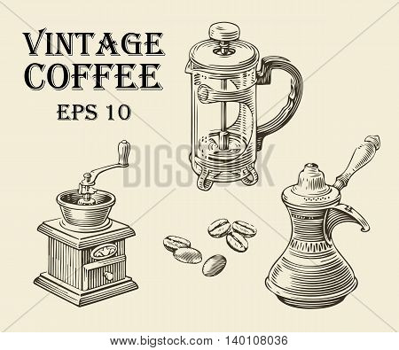 Vintage coffee making set vector illustration. Turk, coffee pot, and a retro grinder.