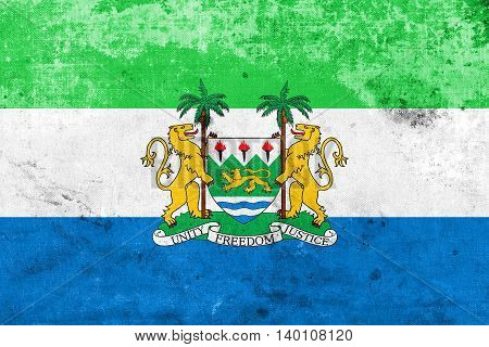 Flag Of Sierra Leone With Coat Of Arms, With A Vintage And Old L