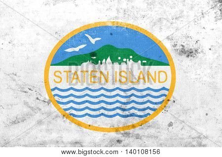 Flag Of Staten Island, New York, Usa, With A Vintage And Old Loo