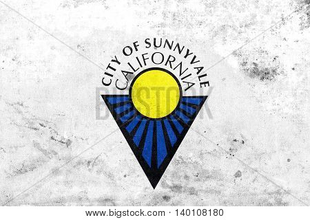 Flag Of Sunnyvale, California, Usa, With A Vintage And Old Look