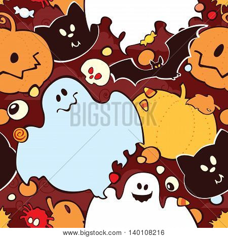 Bright cartoon pattern for Halloween. Vector seamless Halloween pattern. Image doesn't contain gradients transparency blending modes.