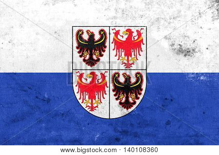 Flag Of Trentino - South Tyrol Region, Italy, With A Vintage And