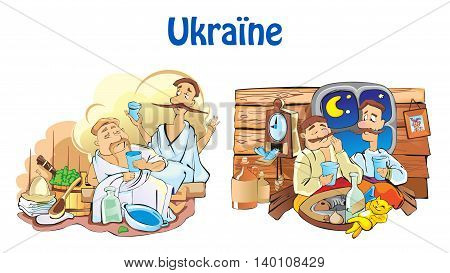 Ukrainian household illustrations - friends at dinner and in sauna.