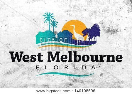 Flag Of West Melbourne, Florida, Usa, With A Vintage And Old Loo