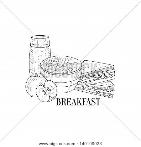 Breakfast With Porridge, Sandwich And Juice Hand Drawn Realistic Detailed Sketch In Classy Simple Pencil Style On White Background