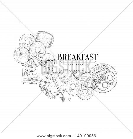 Full English Breakfast Set Hand Drawn Realistic Detailed Sketch In Classy Simple Pencil Style On White Background