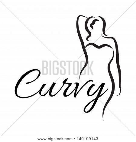 Logo plus size woman. Curvy woman symbol logo. Vector illustration