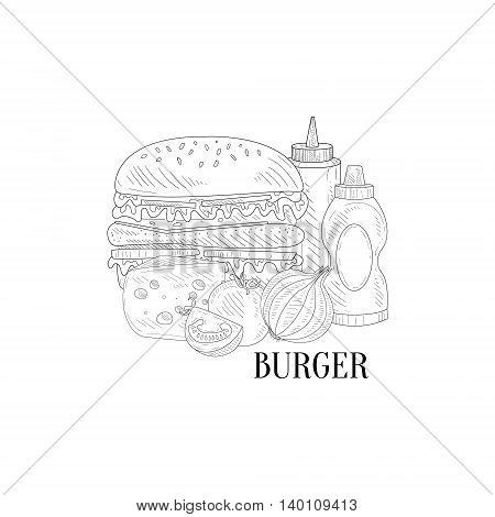 Burger, Ketchup And Mustard Hand Drawn Realistic Detailed Sketch In Classy Simple Pencil Style On White Background