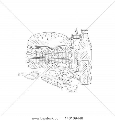 Burger, Soda And Fries Fast Food Meal Hand Drawn Realistic Detailed Sketch In Classy Simple Pencil Style On White Background
