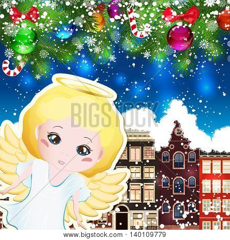 Angel on the background of snow-covered streets. New Year design background. Falling snow.  Holiday illustration with place for text.
