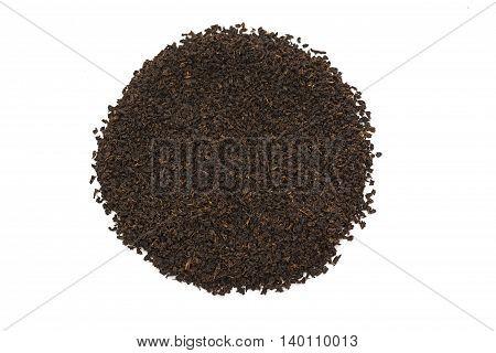 Pile of Dry black tea leaves on white background