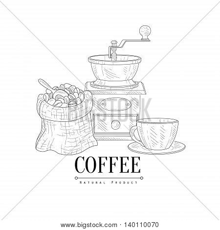 Coffee Mill, Cup and Sack Of Beans Hand Drawn Realistic Detailed Sketch In Classy Simple Pencil Style On White Background
