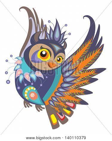 Vector illustration. Decorative Beautiful Vector Decor Owl