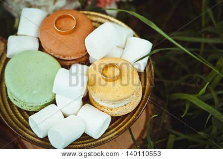 Beautiful Engagement Ring With Marshmallows And Biscuits