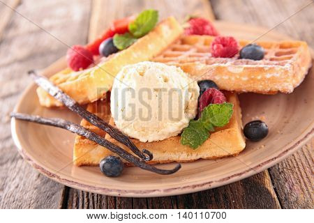 waffle with berry and ice cream