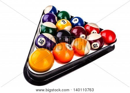 Pool Triangle And Balls Isolated