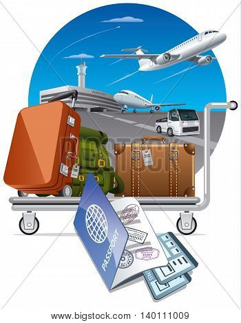 illustration of concept travel by the airplane luggage on trolley in airport and passport with tickets