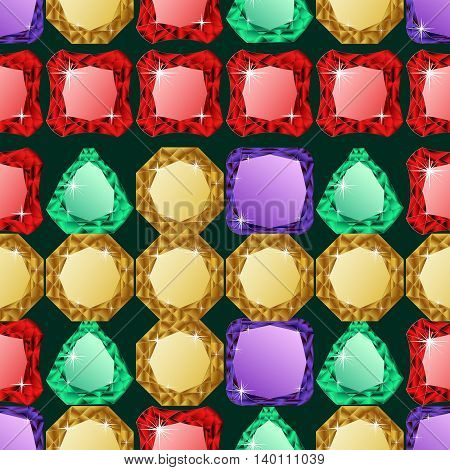 Abstract diamond vector background. Colorful Jem seamless pattern.